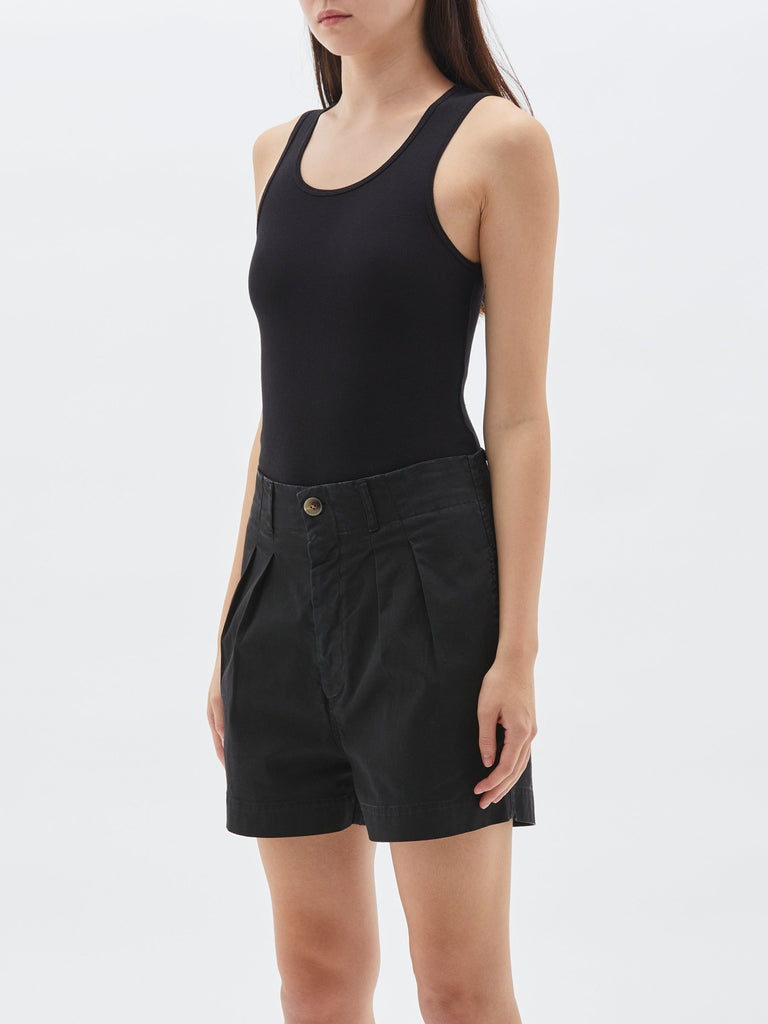 Bassike Layering Superfine Rib Tank Black