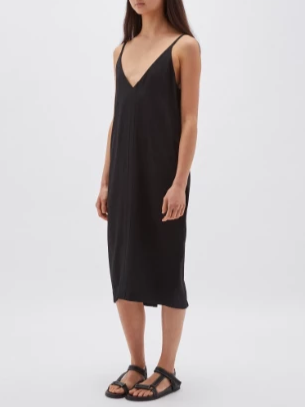 Bassike Deep V Slip Dress - Black