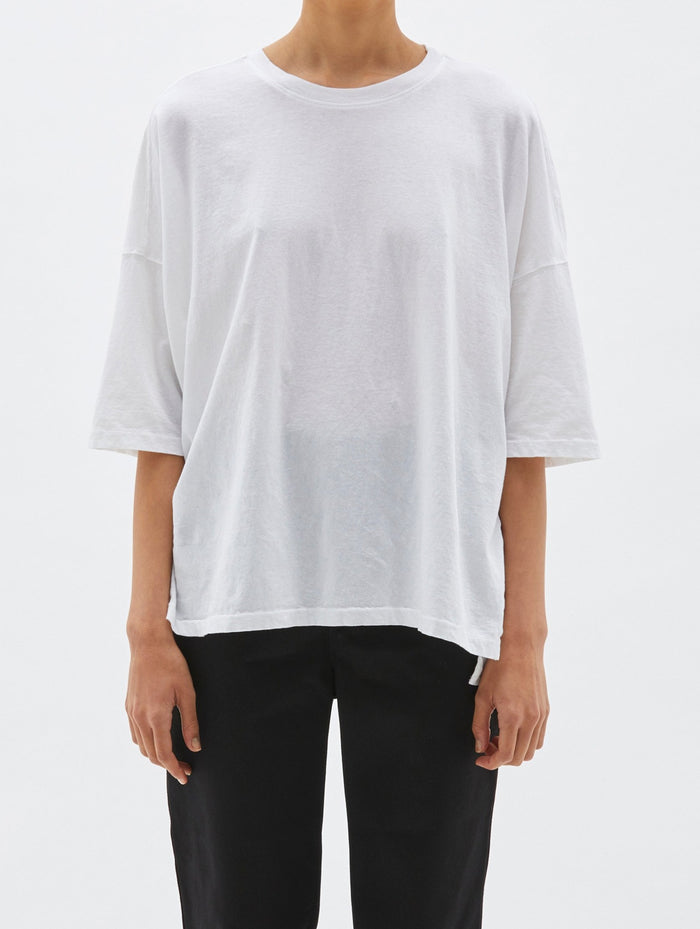 Bassike Slouch Side Step s/s Tee - White