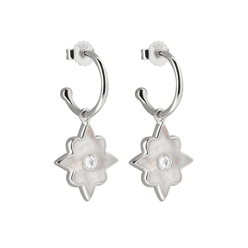 Murkani Small Hoop Earrings With Mother Of Pearl - Silver