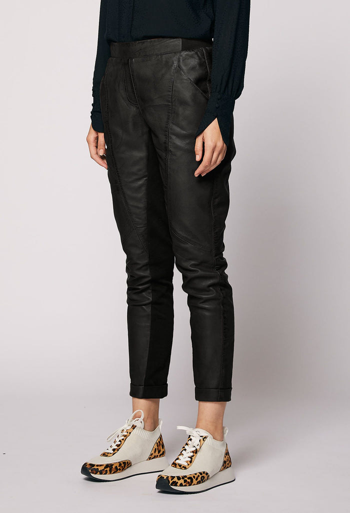 Once Was Libreria Relaxed Leather Pant - Black