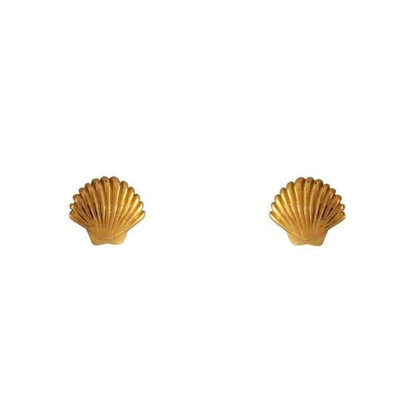 Midsummer Star Gold Dainty Seashell Studs
