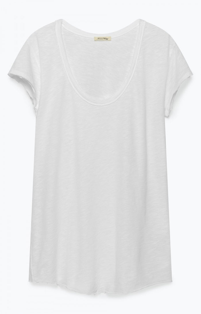 American Vintage Lorkford U Collar Short Sleeve Tee - White
