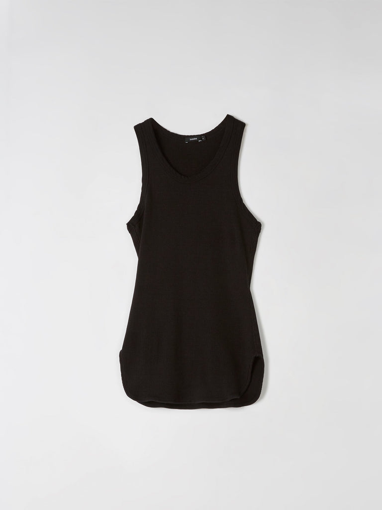 Bassike Athletic Rib Tank - Black
