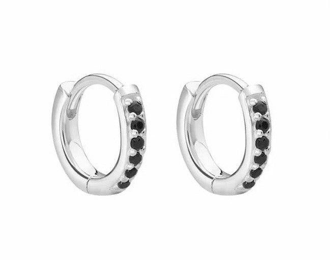 Murkani Small Hoop 9mm Black Spinel Silver