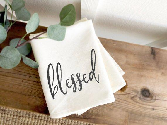 blessed farmhouse tea towel