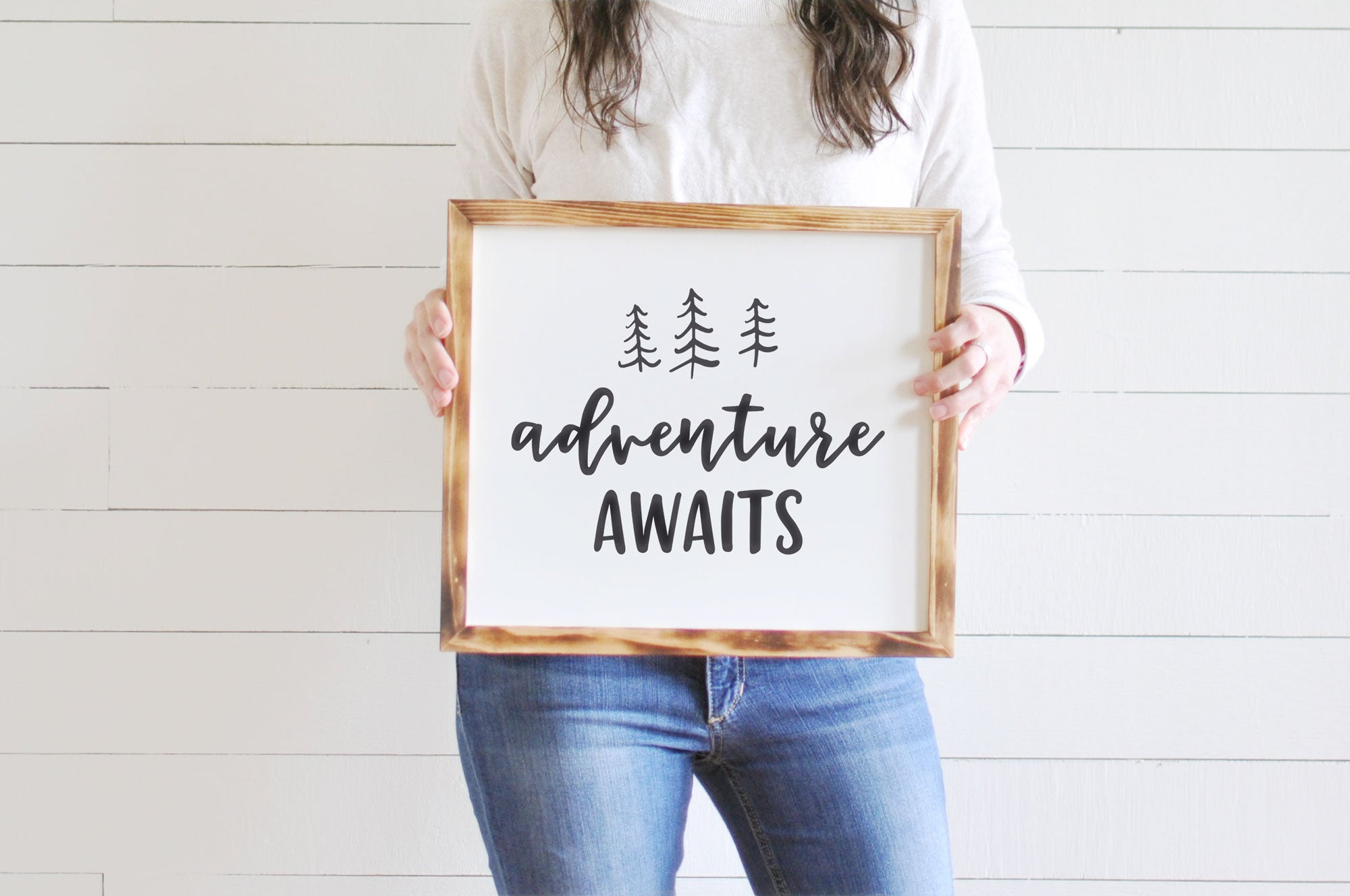 adventure awaits wooden sign