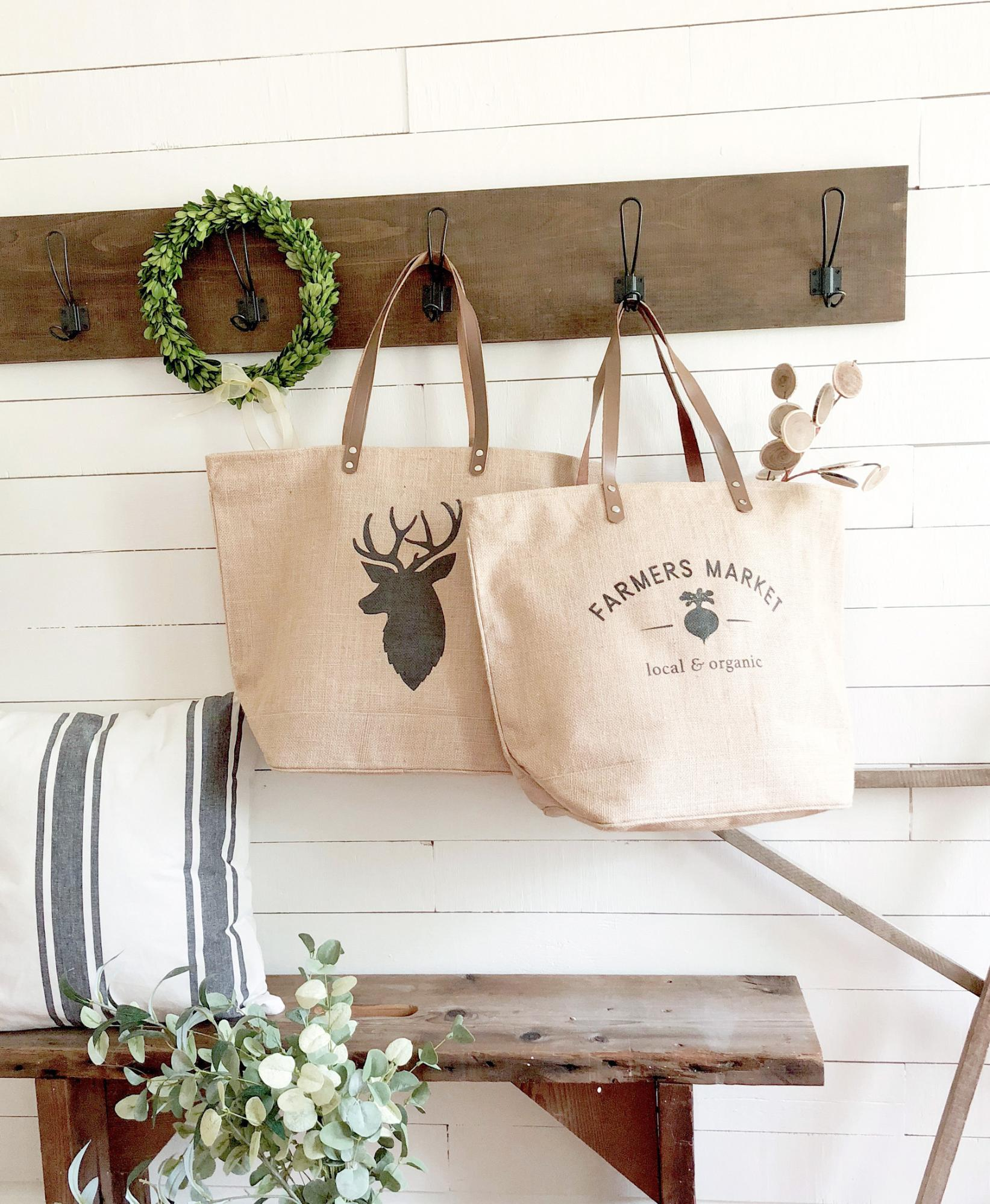 Deer and Farmers Market Burlap Tote Bag