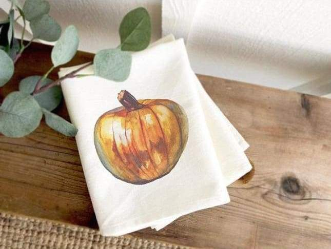 pumpkin watercolor tea towel