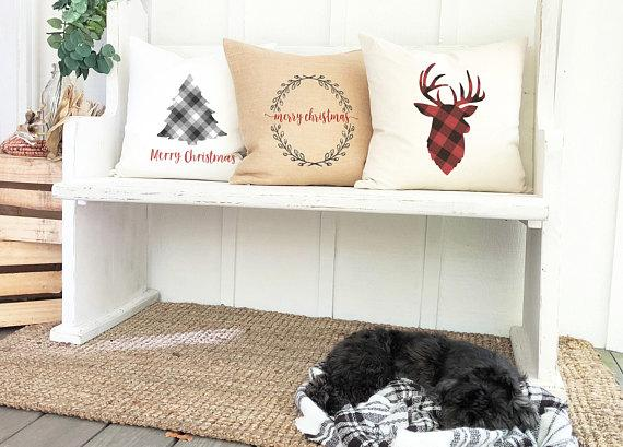canvas burlap and christmas pillows
