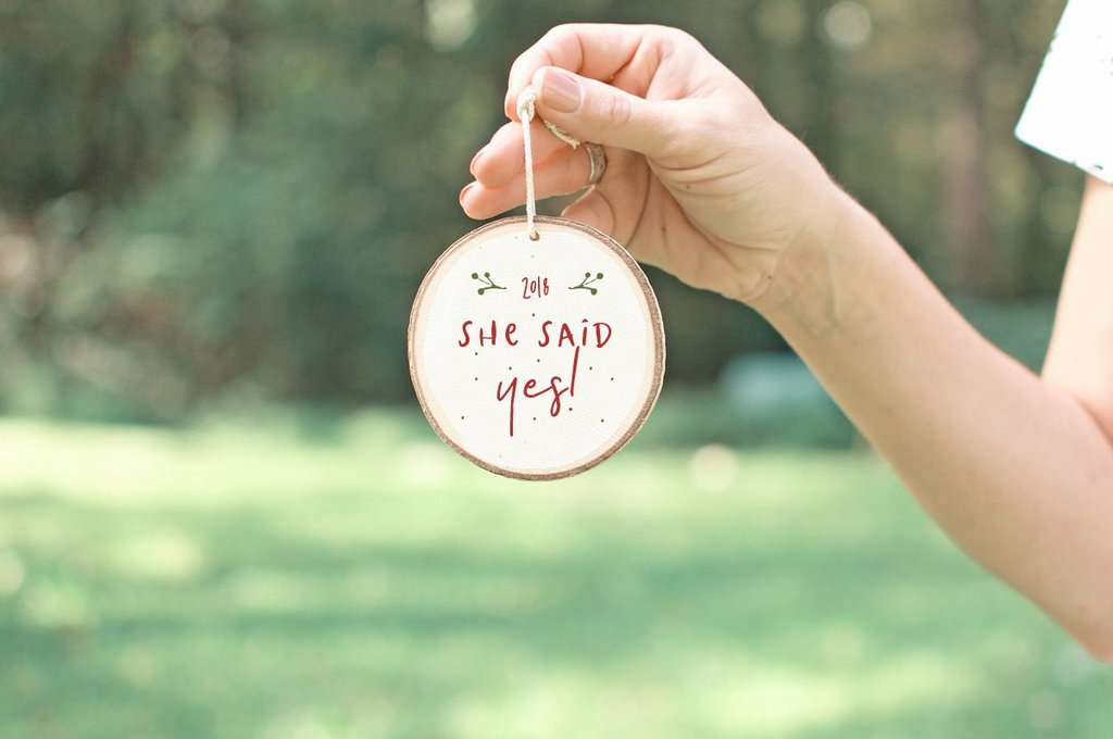 she said yes proposal christmas ornament