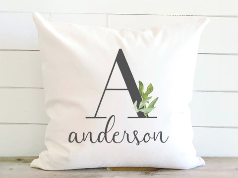 Watercolor Monogram & Name Pillow