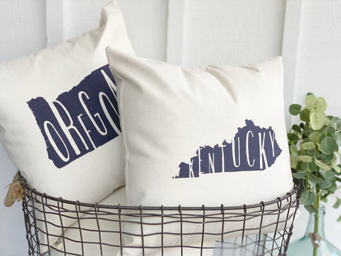 State Silhouette Throw Pillow