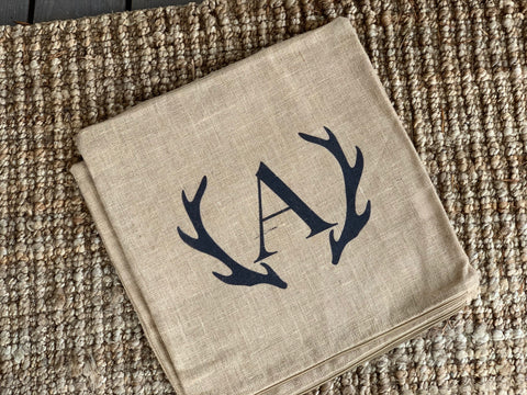 Letter A Initial Linen Tea Towel with Antler Detail