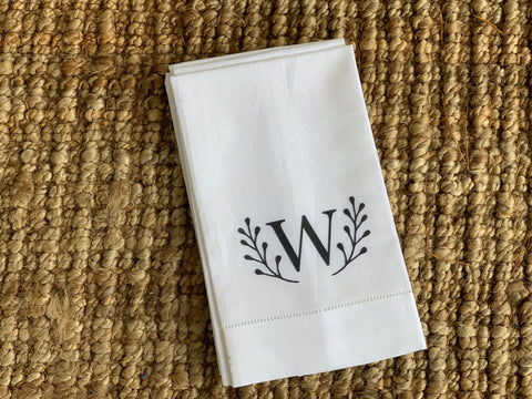Letter W Initial Linen Tea Towel with Laurel Leaf Detail