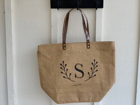 Letter S Initial Burlap Tote with Laurel Leaf Detail