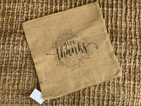 Give Thanks Wreath Burlap Pillow Cover