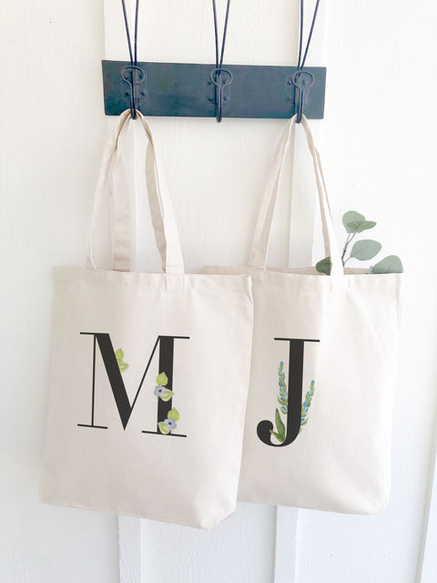 Canvas Tote with Watercolor Monogram Letter