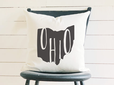 Ohio Home State Silhouette Throw Pillow