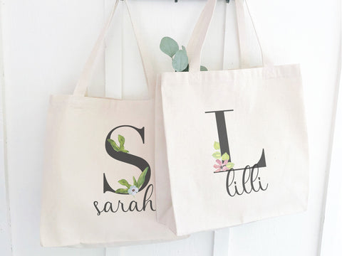 Canvas Tote with Watercolor Monogram and Name