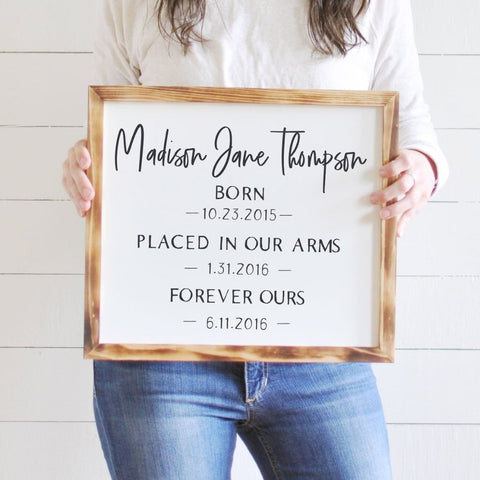 Personalized Wooden Adoption Sign