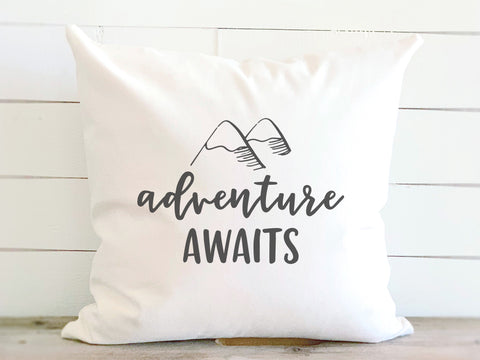 Adventure Awaits Quote Pillow with Mountains