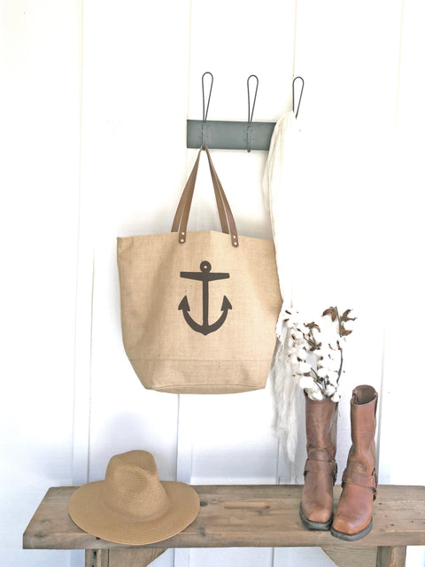 Waterproof Nautical Beach Bag with Anchor Design