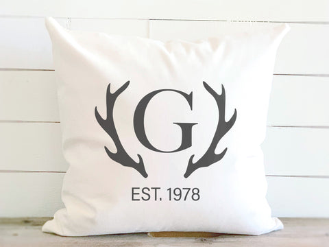 Monogrammed Antler Pillow with Established Date