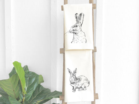 Set of 2 Bunny Cotton Organic Tea Towels