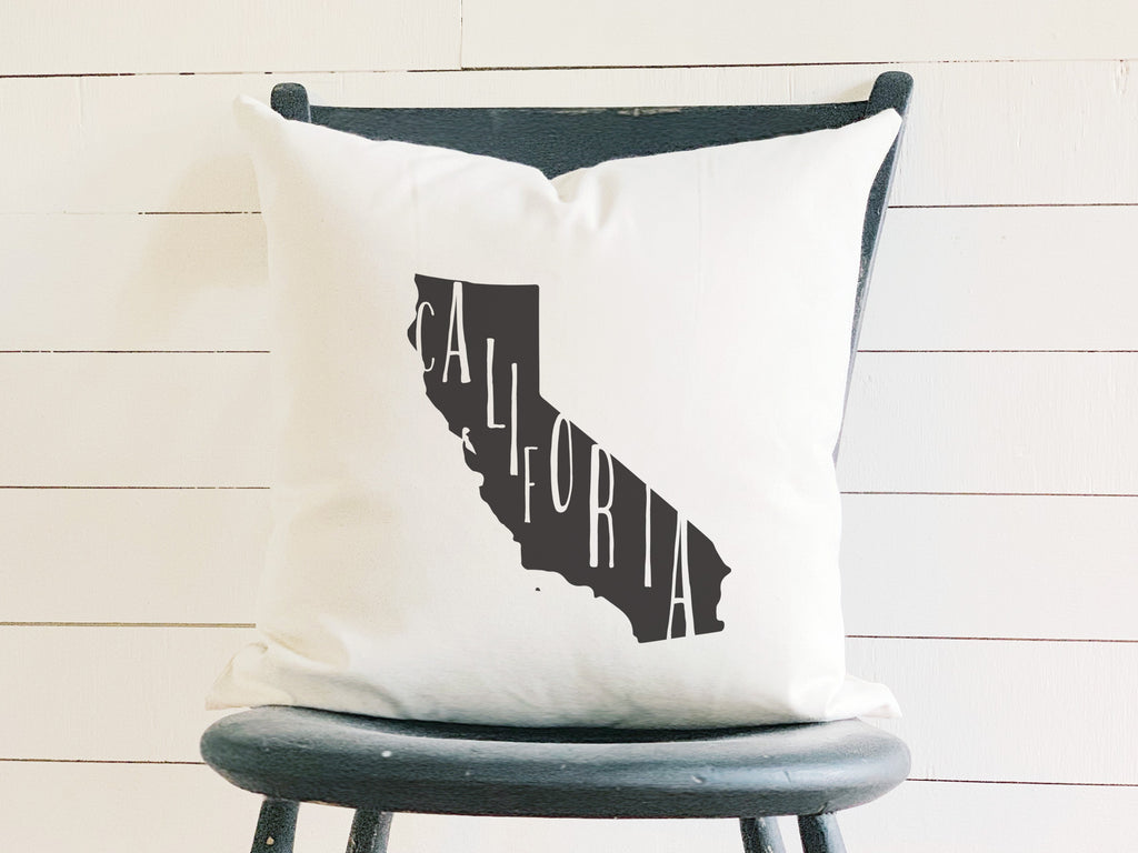 California Home State Silhouette Throw Pillow
