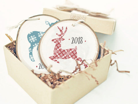 Personalized 2018 Blue or Red Deer Wood Slice Christmas Ornament