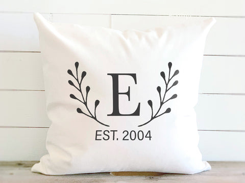 Laurel Leaf Monogram Pillow with Established Date