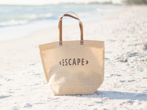 Escape Burlap Tote Bag