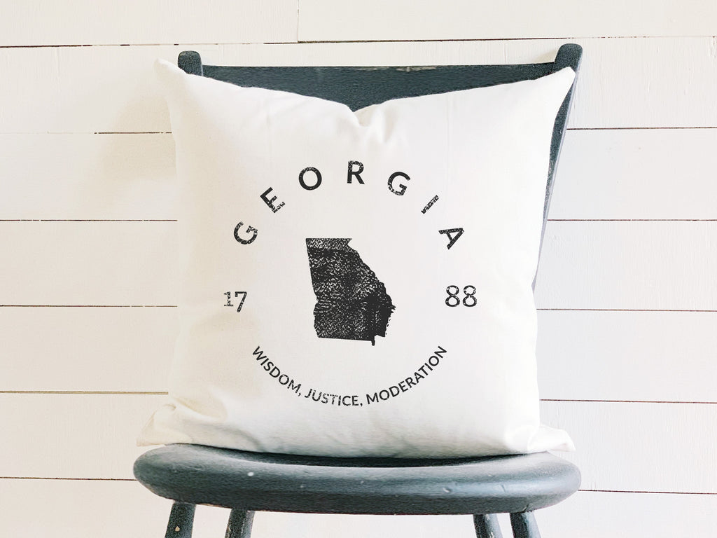 Georgia State Badge Pillow with State Motto and Established Date