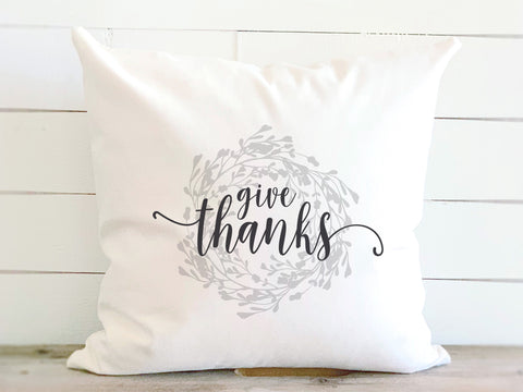 Give Thanks Wreath Farmhouse Pillow