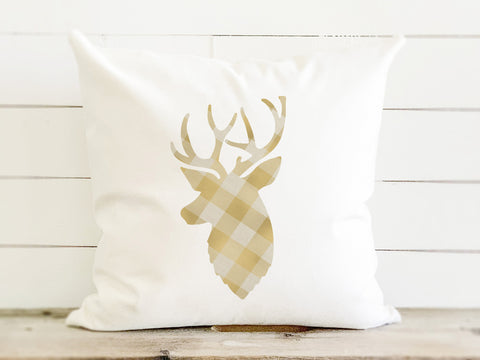 Gold Plaid Stag Canvas Pillow