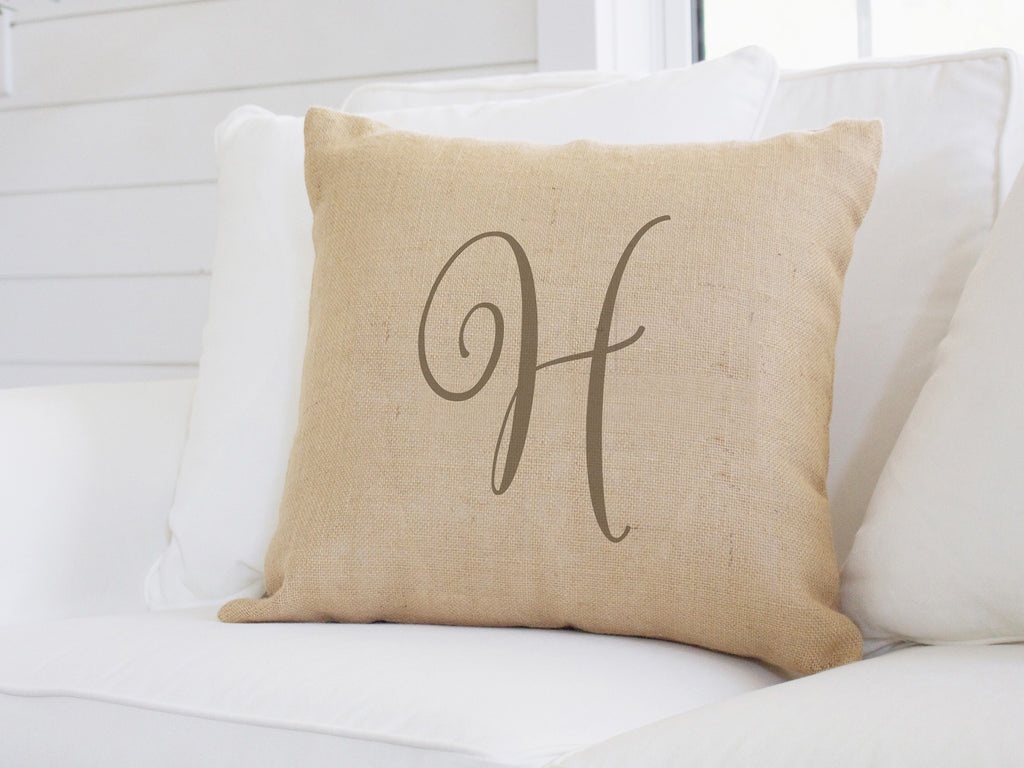 Brown Script Monogram Canvas Pillow