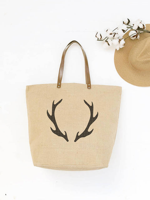 Tote Bag with Antler Design