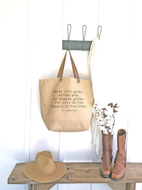 "St Augustine ""Love Grows"" Quote Burlap Tote"