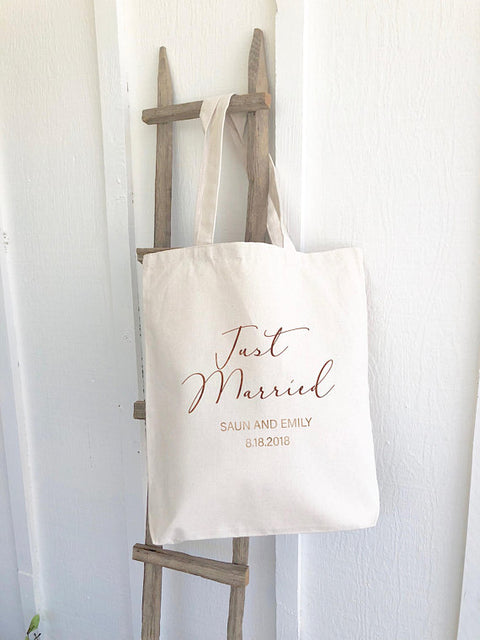 Just Married Personalized Canvas Tote Bag