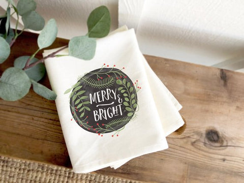 Merry & Bright Wreath Farmhouse Christmas Tea Towel