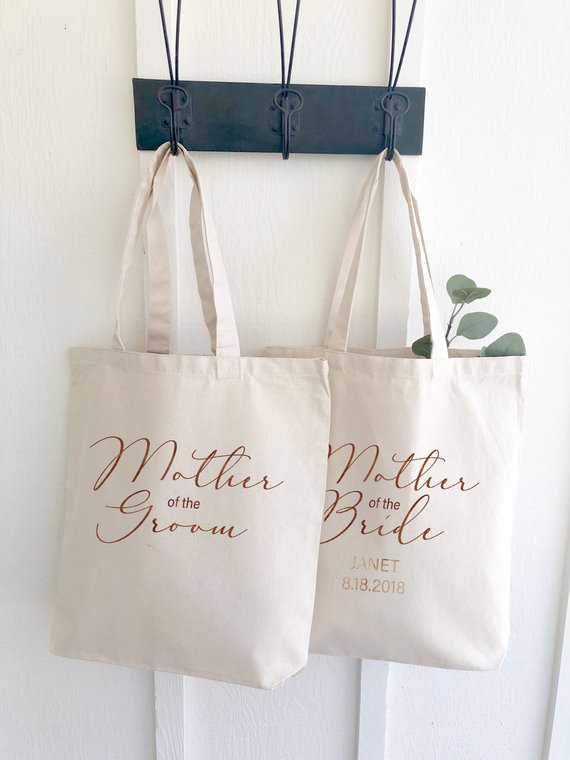 mother of the bride or groom personalized canvas tote bag indigo