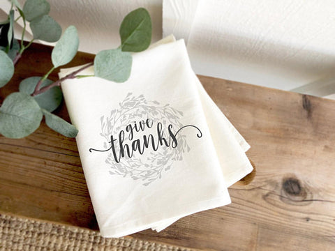 Give Thanks Wreath Farmhouse Tea Towel