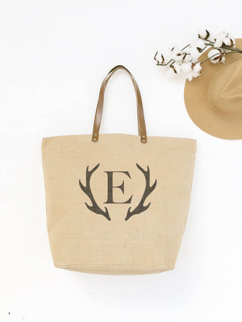 Antler Monogram Tote Bag | College Graduation Gift | Gifts for Her | Personalized Birthday Gift | Graduation Gift for Her | Burlap Tote Bags