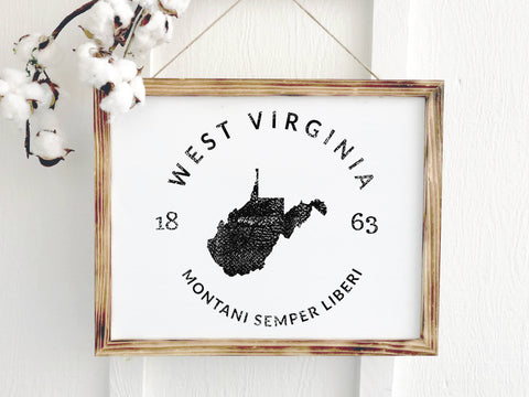 West Virginia Rustic Wooden Farmhouse Badge Sign