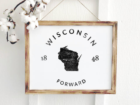 Wisconsin Rustic Wooden Farmhouse Badge Sign