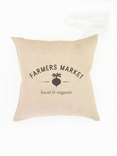 Farmers Market Pillow | Farmhouse Throw Pillow Cover | Canvas Farmhouse Pillow