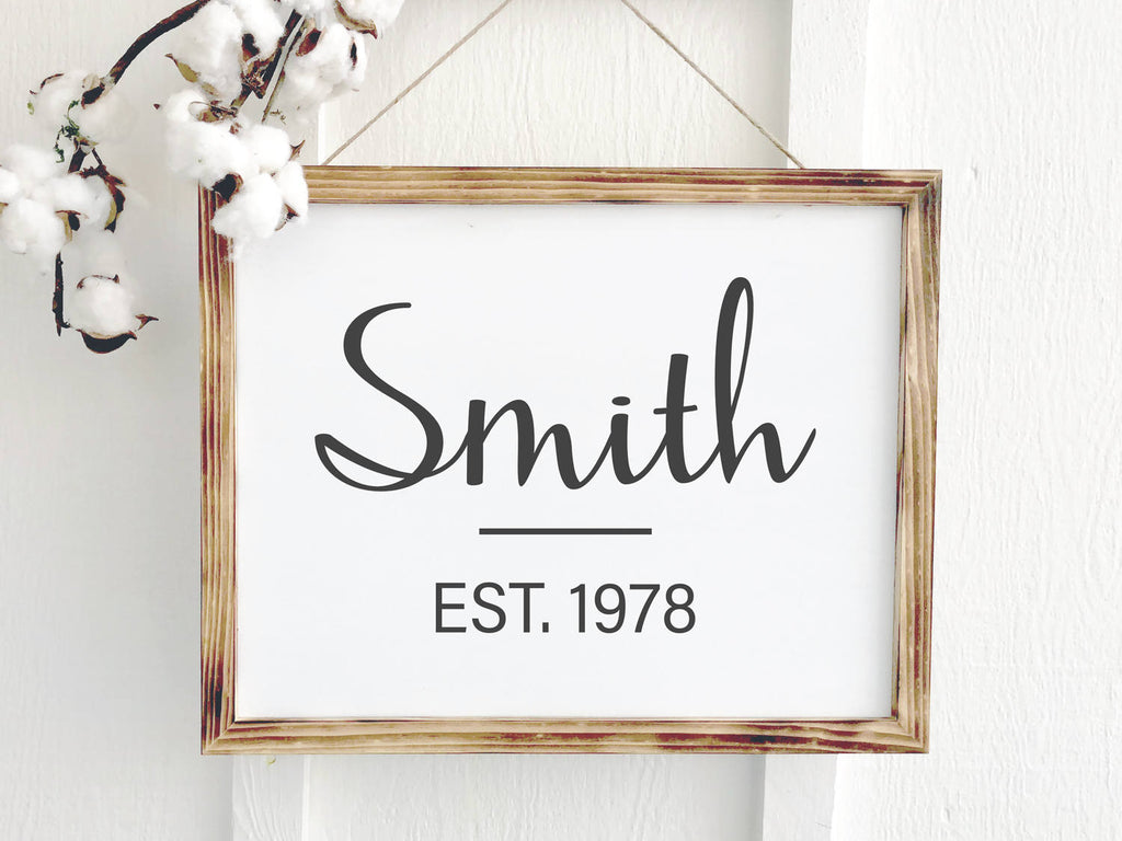 Established Date Family Name Sign