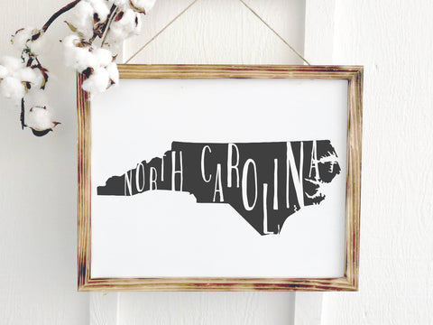 North Carolina Artwork Farmhouse Sign