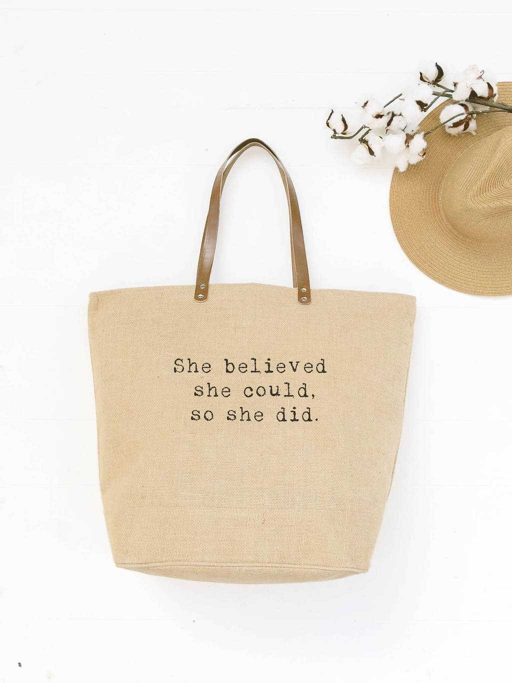 "Burlap Tote Bag with ""She Believed"" Quote"